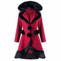 Женское пальто с капюшоном и шнуровкой