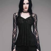 Готическая кружевная блузка с длинным рукавом