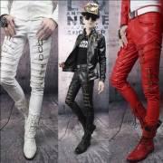 мужские кожаные брюки байкер