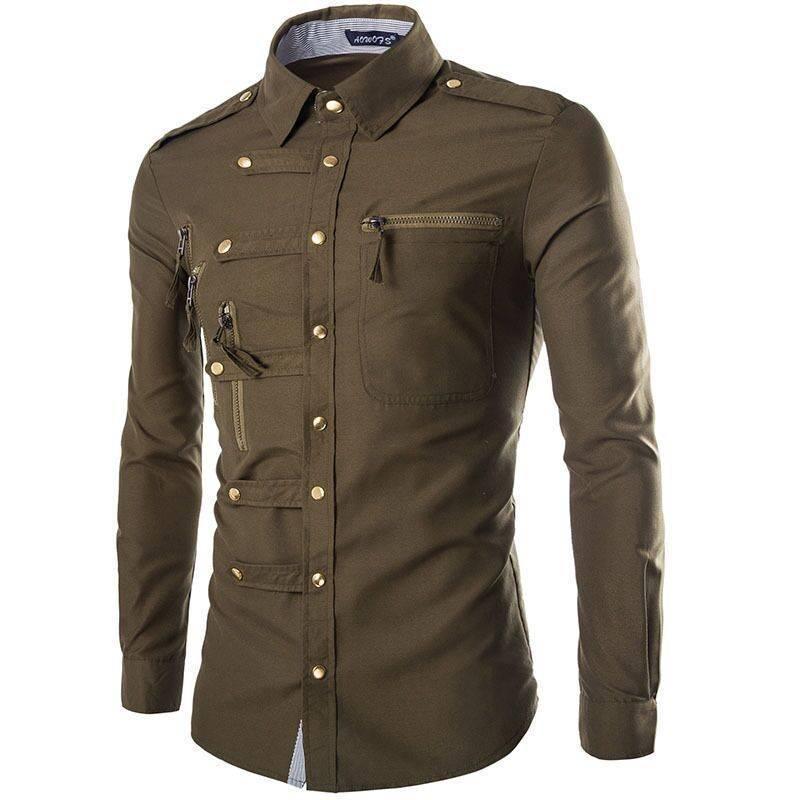 f8094945a52 Мужская рубашка с длинным рукавом в стиле Милитари (4 цвета ...