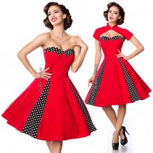 Красное платье с болеро в стиле ретро