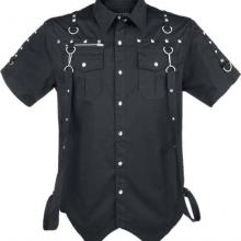 Мужская готическая рубашка с ремнями