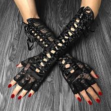 готические перчатки со шнуровкой