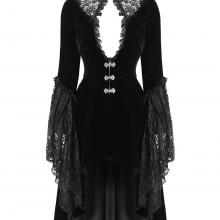 Женский длинный вельветовый фрак с кружевом в готическом стиле